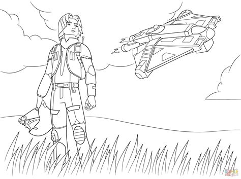 star wars ezra coloring page star wars rebel ezra bridger coloring page free