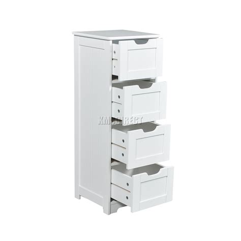 Wooden Bathroom Storage Units Foxhunter White Wooden 4 Drawer Bathroom Storage Cupboard Cabinet Standing Unit Ebay