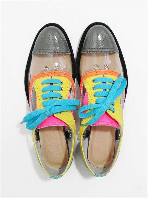 neon color shoes style pantry clear neon color block oxfords