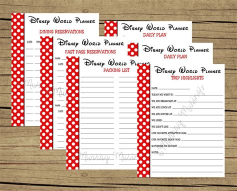 printable vacation planners free printable disney world vacation planner