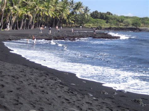 picture photo black sand beach at punaluu big island punalu u black sand beach on the big island