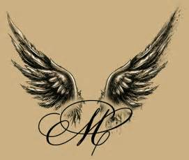 angel winged m tattoo design my tattoo designs