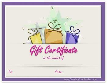 birthday gift card templates free free gift certificate template customizable