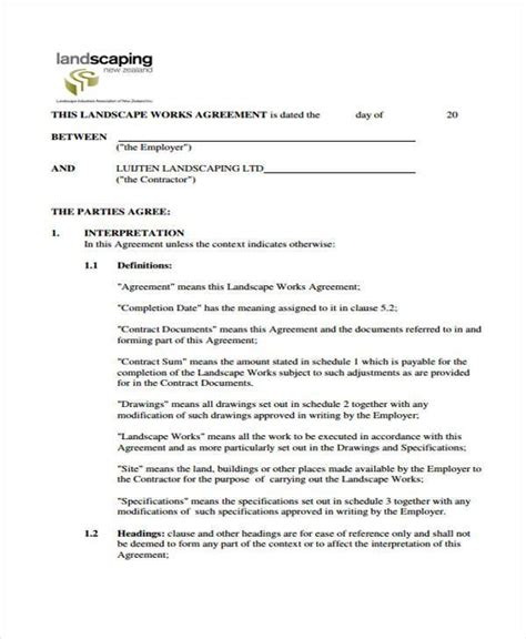 Landscaping Contracts Forms by Landscaping Contracts Forms Gmagazine Co