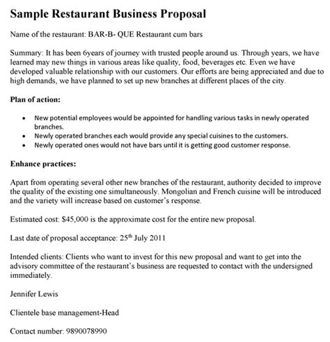 design proposal for restaurant business proposals sle proposals