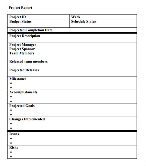 project report template sle project status report 14 exles format