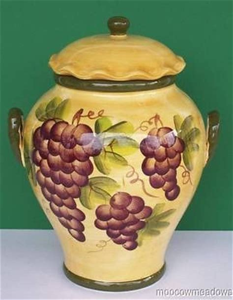 grape canister sets kitchen new tuscany grapes cookie jar wine kitchen canister decor