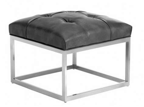 small grey ottoman sutton grey leather small square ottoman from sunpan