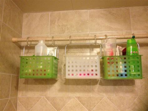 Bathroom Storage Bins Shower Storage Bins I Found At Work Shower Curtain Hooks And A Shower Tension Rod So Easy