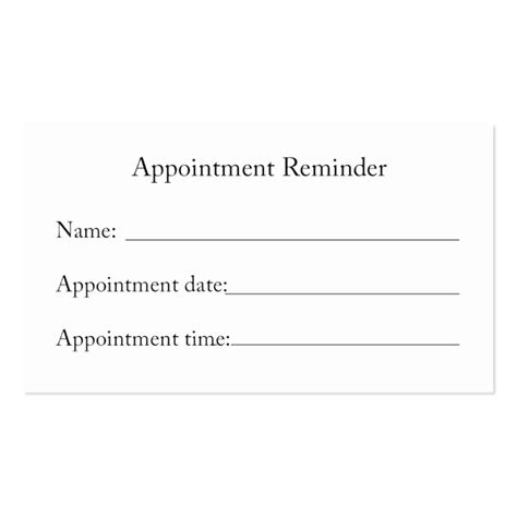 appointment reminder card template appointment reminder card business card template