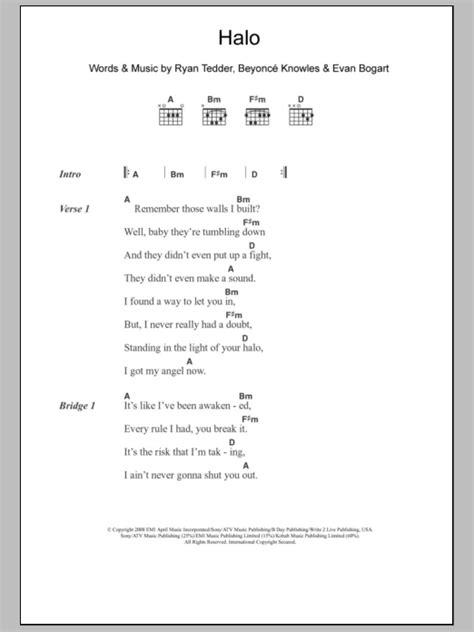 halo lyrics halo sheet music direct