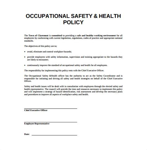 health and safety strategy template occupational health and safety plan template plan template