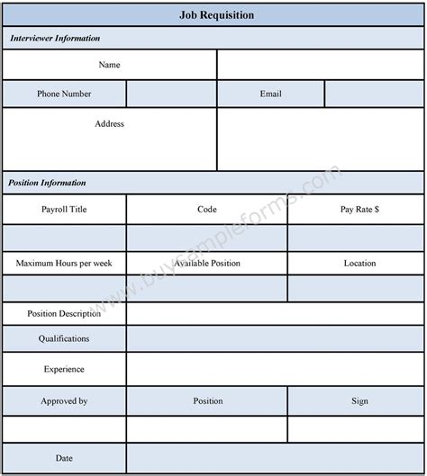 requisition form sle from and template