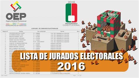 lista de jurados electorales 2016 cochabamba lista de jurados referendum de bolivia lista de jurados