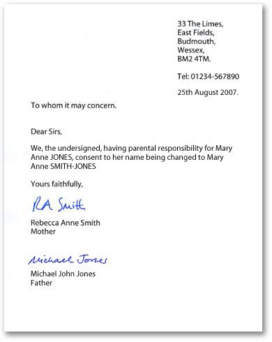 parental consent letter template | print paper templates