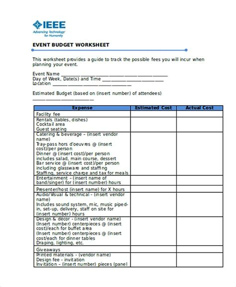 operating expenses template operating budget template