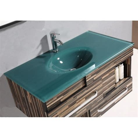 Green Glass Vanity Top by Legion Single Sink Vanity Finish Black Wood Pattern Top