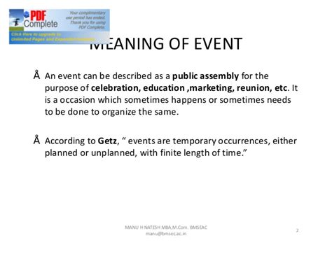 Meaning Of Mba Education by Chap 1 Introduction To Event Management