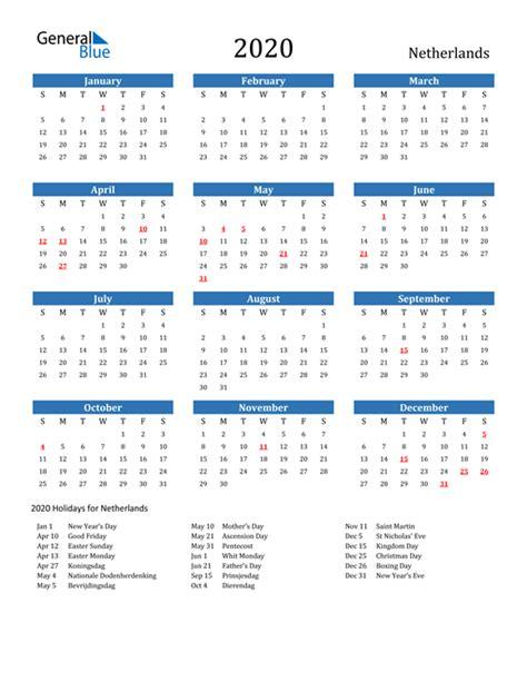 calendar netherlands  holidays