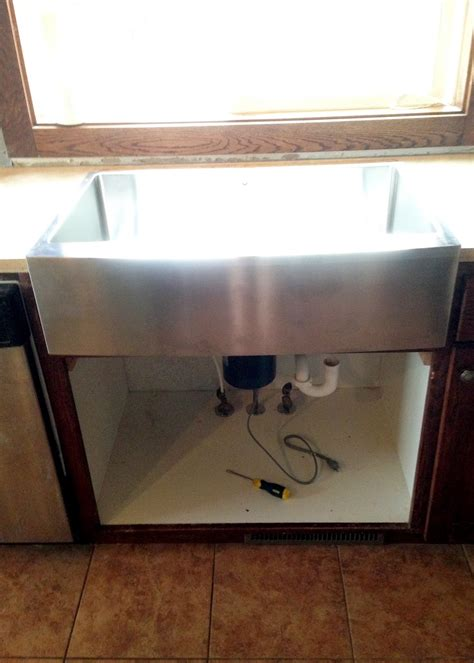 How To Install A Farmhouse Kitchen Sink New Stainless Steel Apron Front Sink How We Installed It In Existing Cabinetry Averie