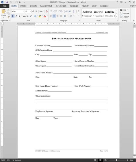 Change Of Address Request Template Address Form Template