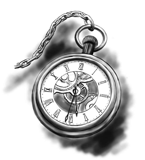 drawn pocket watch stopwatch pencil and in color drawn