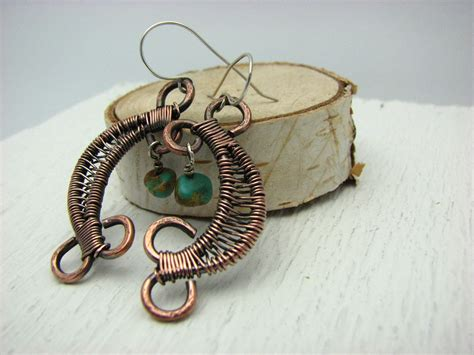 Handmade Wire Jewelry - copper wire wrapped jewelry handmade dangle by risingsunstudio
