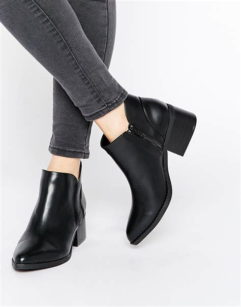 Block Heel Ankle Boots call it adraun black pointed block heel ankle boots