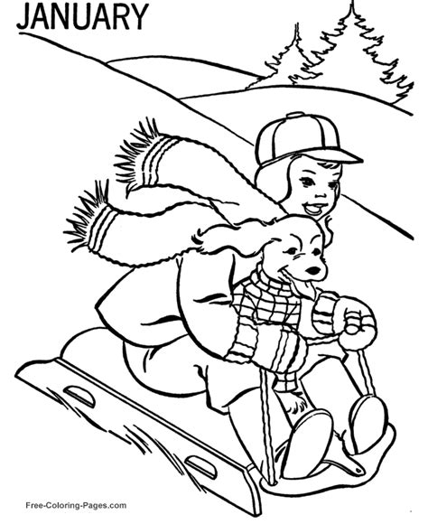 january coloring pages for toddlers winter coloring pages january sledding 07