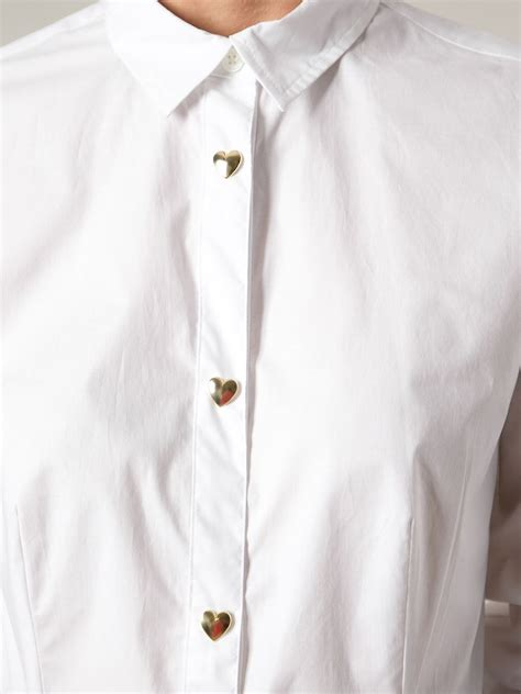 Max Gold Button Blouse T3010 1 moschino gold tone shape button classic shirt in white lyst