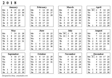 Calendar 2018 By Week Number 2018 Calendar With Week Numbers Calendar