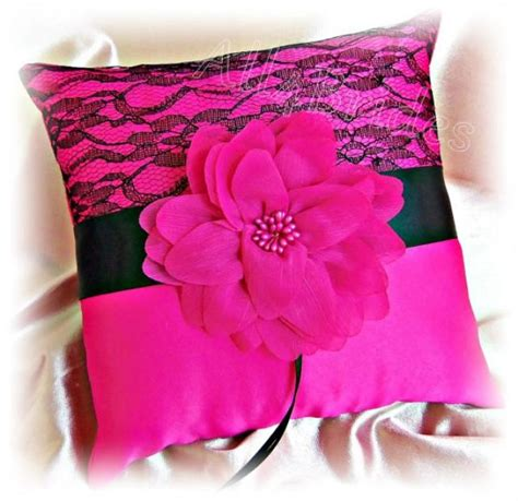 Bargain Of The Week Pink Twirl Pet Pillow by Wedding Ring Bearer Pillow In Pink Fuchsia And Black