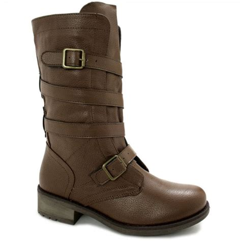 buy foxxy flat calf biker boots brown leather style