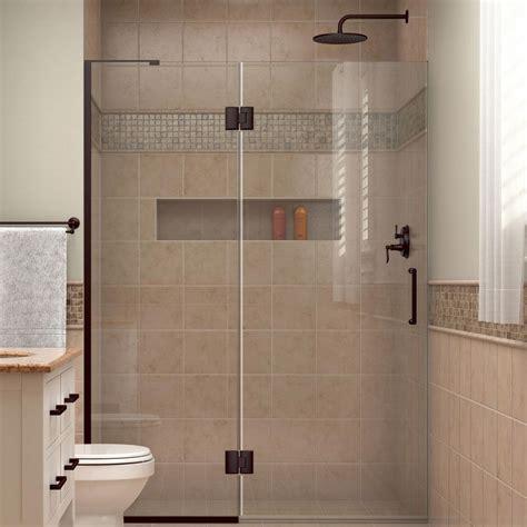 Dreamline Frameless Shower Door Dreamline Linea 34 In X 72 In Frameless Fixed Shower Door In Black Shdr 3234721