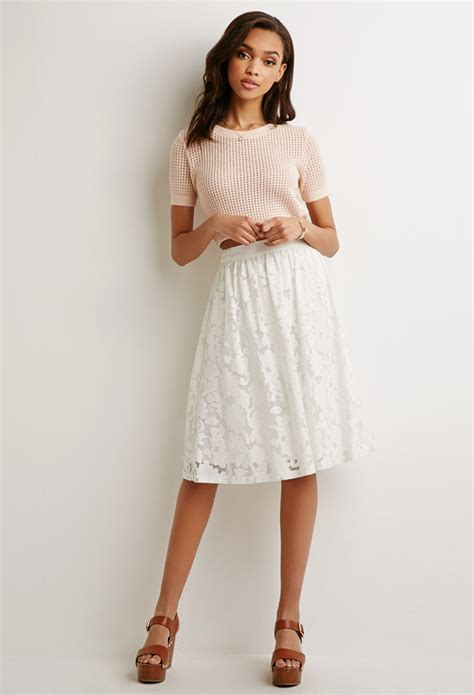 Forever21 Zipper Lace Skirt Branded forever 21 lace a line skirt in white lyst