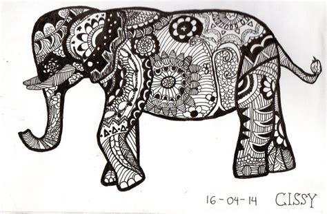 doodle elephant zen doodle of elephant by ceciliabtari on deviantart