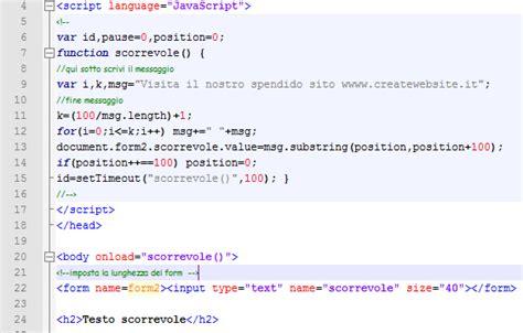 testo scorrevole html testo scorrevole orizzontale