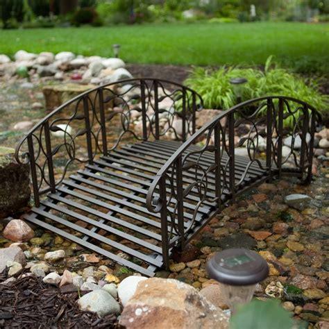 yard bridges metal garden bridge outdoor black 4 foot steel backyard