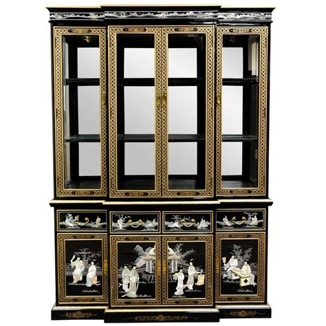 chinese black lacquer cabinet oriental furniture black lacquer breakfront ebay