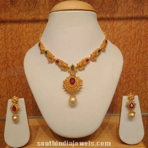light weight gold necklace designs 22k gold light weight necklace south india jewels