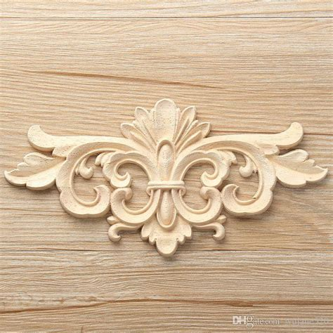 size vintage unpainted wood carved decal corner