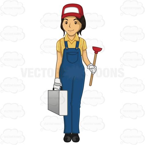 commercial woman plumber cartoon clipart female plumber carrying a tool box and a