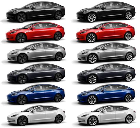 tesla colors all 12 tesla model 3 color wheel combos in one picture