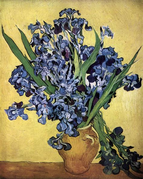 Gogh Vase With Irises by Still Vase With Irises Against A Yellow Background