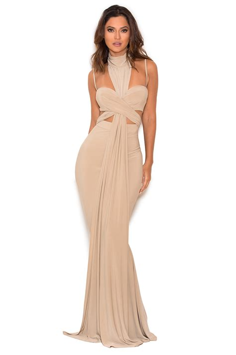 Crossover Dress clothing max dresses nou taupe crossover bust maxi dress
