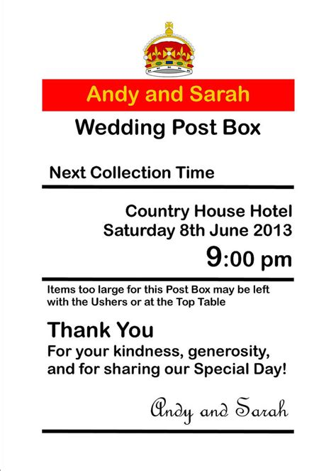 Wedding Card Box Sign Template by Personalised Royal Mail Post Box Wedding Card Box Wishing