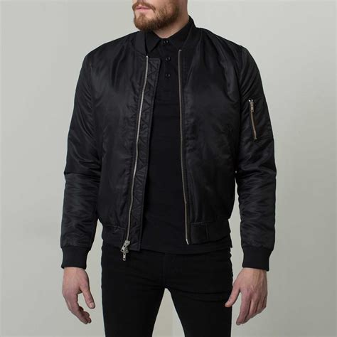 Jaket Inv Bomber Simple Black mens bomber jacket with silver zippers in black 145