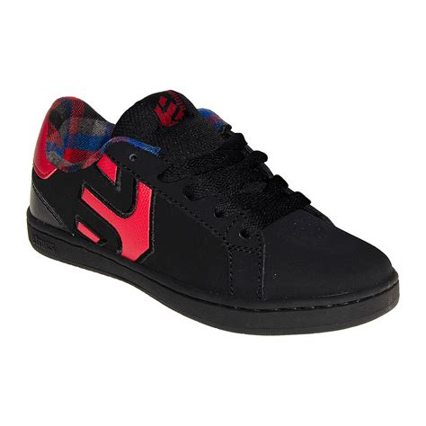 red and black ls etnies fader ls kids trainers black red blue banana uk