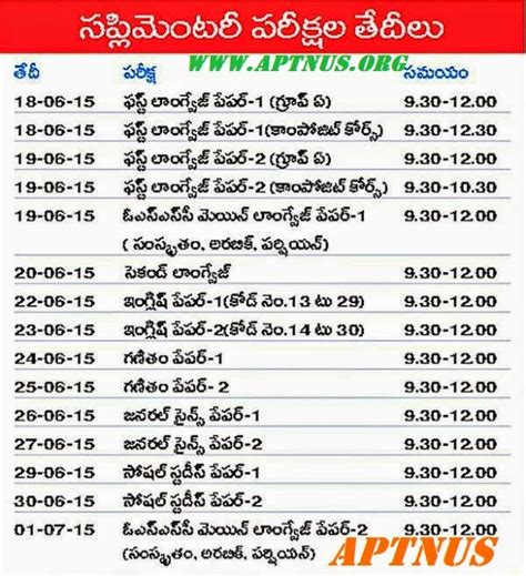 m a supplementary result 2015 ap ssc advance supplementary exams 2015 time table