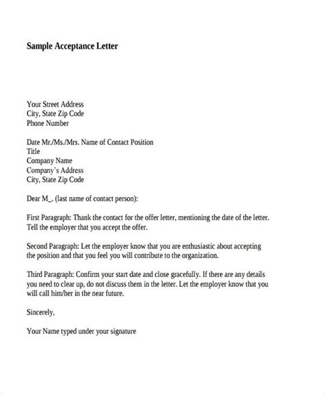 Offer Acceptance Letter Exle 40 Offer Letter Templates In Pdf Free Premium Templates